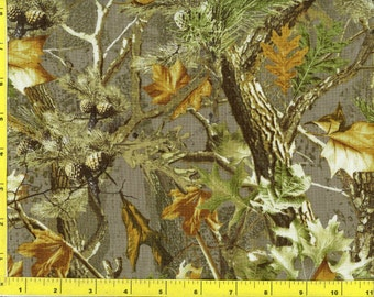 Woodland Camo Leaves Trees and Pine Cones on Gray Green Quilting Fabric  169