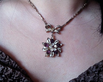 Mad Men Amethyst and Rhinestone Dazzling Floral Necklace