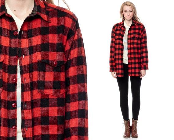 Buffalo Plaid Jacket 70s Wool Shirt Red Black Lumberjack