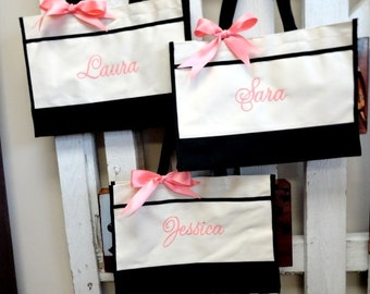 Set of 5 Bridesmaid Gifts, Monogrammed Tote Bag, Personalized Bags, Bridesmaid Tote