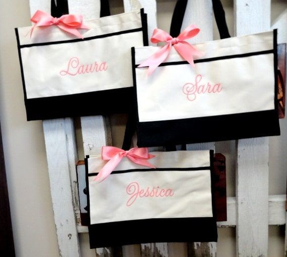 Set of 5 Bridesmaid Gifts, Monogrammed Tote Bag, Personalized Bags, Bridesmaid Tote