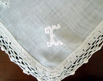 "Bridal  ""E"" Monogram in white  floss on White Linen with White Crocheted edge. Mint Condition.."