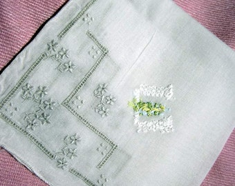 """Beautiful Bridal  """"W"""" Monogram in White on White Linen with Embroidery all four corners. Mint."""