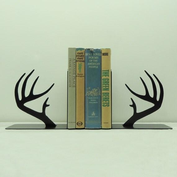 Deer antler metal art bookends free usa by knobcreekmetalarts - Deer antler bookends ...