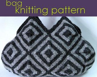 Striped Squares Bag Knitting Pattern, Modular Knitting, Knitted Bag, Knitting Pattern PDF