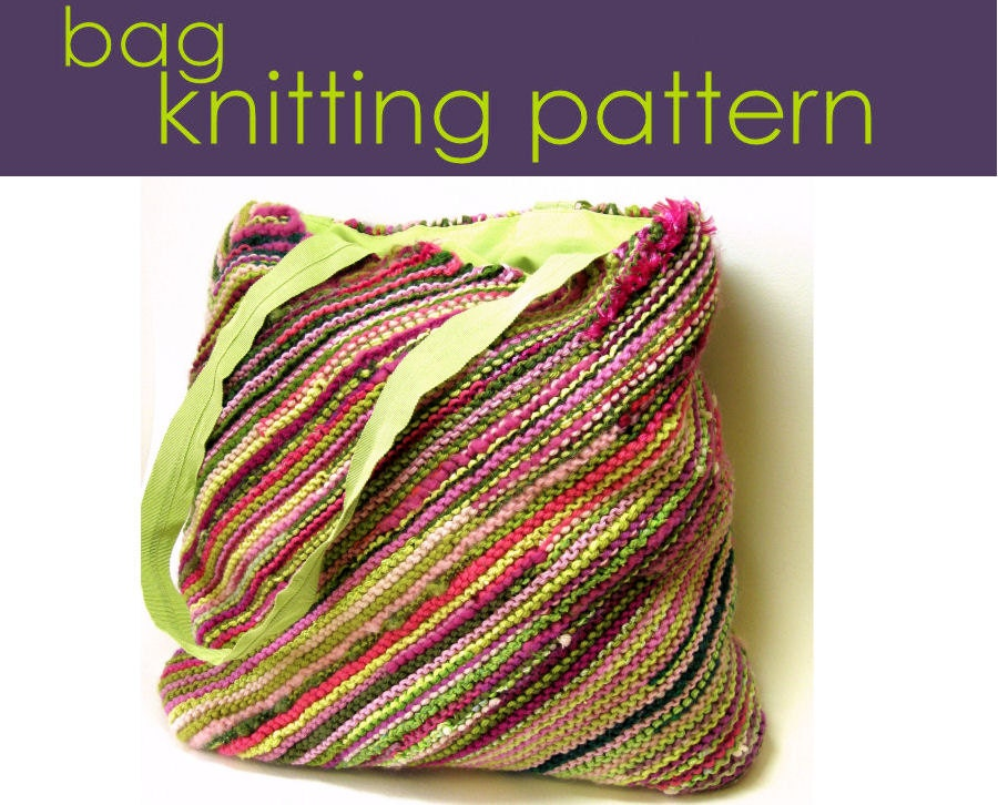 Handbag Knitting Patterns : Bias Bag Knitting Pattern Knitted Bag Knitting Pattern PDF