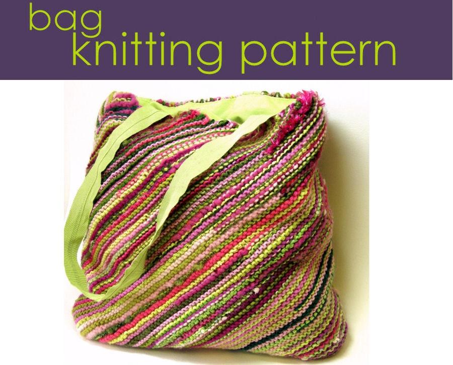 Easy Knitting Pattern For Bag : Bias Bag Knitting Pattern Knitted Bag Knitting Pattern PDF