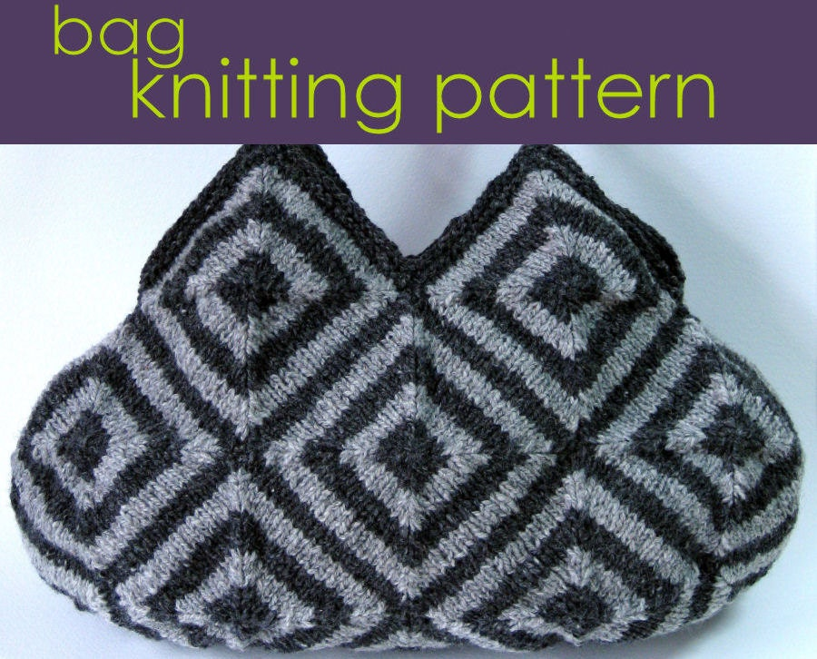 Double Knitting Bag Pattern : Striped Squares Bag Knitting Pattern, Modular Knitting, Knitted Bag, Knitting...