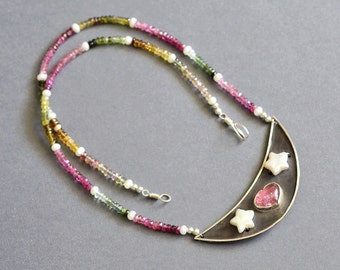 Tourmaline Sterling Necklace - Stole My Heart - Bezel Set Cabochon, Hot Pink, Hand Forged, Soldered, Beaded, Freshwater Pearl, Wire Wrapped