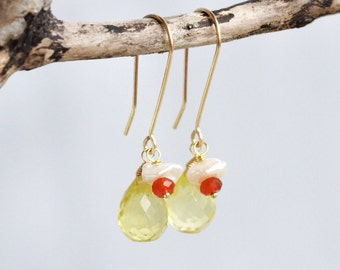Lemon Quartz Earrings, 14k gold filled wire wrapped dangle, hand shaped earwire, keishi pearl and carnelian flower