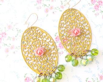 Juliette - Chandelier Earrings - Rose - Whimsical