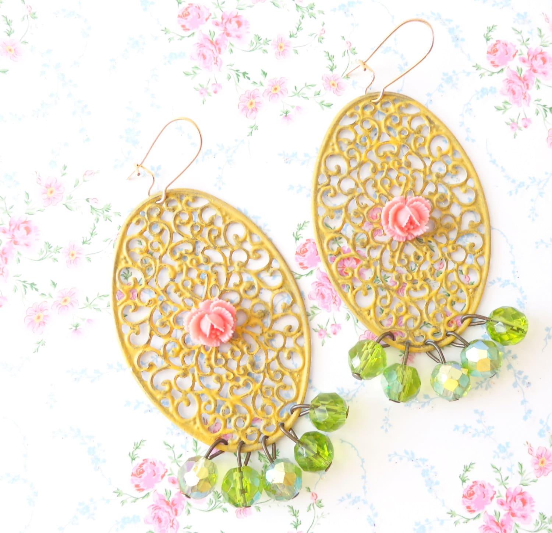 Juliette Chandelier Earrings Rose Whimsical By Nestingpretty