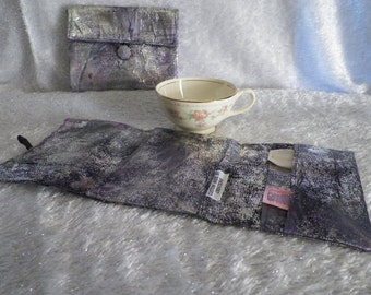 Tea Wallet Cozy Multi Color Silver Foil Marble Print