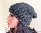 Baby Alpaca Knit Hat, Dark Green Ribbed Slouchy Beanie Cap for Adult Women Teens Girls // BLEECKER //