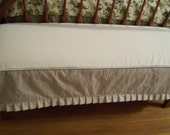 Bench Slipcover Brushed Denim with Knife Pleat Skirt  Dining Room Bench Washable Slipcover