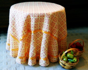 1/12 Scale (Dollhouse) Summer Gold Print Double Cloth Covered Table with Ribbon Trim - Indoor Fairy Garden