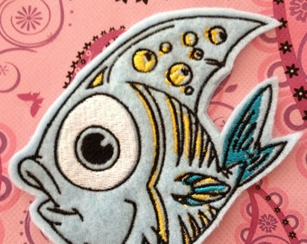 4.06x4.13 inch Funny Blue Tropical Fish Appliqué