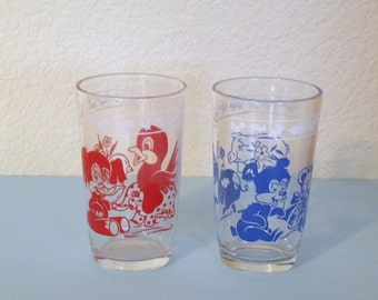 Two Vintage Childrens Motif Swanky Swigs
