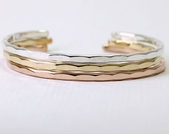 3 Medium Stacking Cuffs in Sterling Silver, Rose Gold and Yellow Gold Fill, with free US shipping