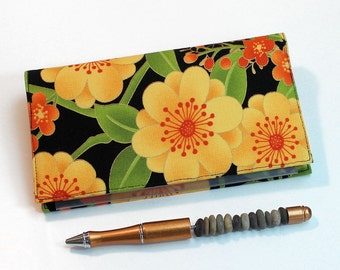 Jubilee Checkbook Cover for Duplicate Checks with Pen Holder, Gold and Orange Floral Cotton Fabric