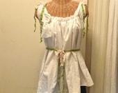 Beach Roses Blouse Size Medium Embroidered Linen Casual Handmade Custom Boho, Top, Womens Tattered