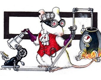 "Cheesepunk ""Dexter"" Limited Edition Print - MATTED black - Steampunk Mouse"