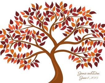 Personalized Wedding Tree Guest Book - Printed Leaves, for up to 200 guests - Fall Colors