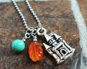 Castle Charm and Gemstone Necklace, Carnelian, Turquoise, Stainless Steel Ball Chain