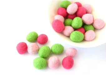 Mix of 30 felted wool rondelle beads / pebbles (lime green, bright pink, pink)