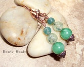 Spring Green Stone Dangle Earrings in Dyed Green Quartz, Prehnite, Moss Agate with Copper Leaf Earwire