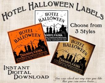 Halloween Witch Label Vintage Hotel Instant Digital Download Collage Sheet Printable Scrapbook Image Clip Art INSTANT DOWNLOAD