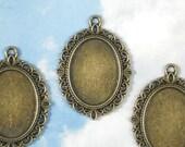 8 Cameo Holder Bezel Blanks Bronze Fancy Oval 25 x 18mm Resin Setting Photo Frame Cabochon Pendants  (P298)