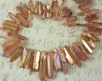 Mystic Aura Crystal Point Beads Peach Pink Orange Titanium AB Quartz Tip Drilled Graduated Sizes (5190)