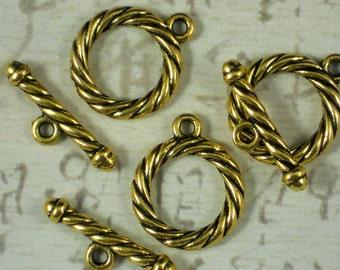 BuLK 15 Sets Rope Circle Toggle Clasps Gold Tone Closures Antiqued (P1098 -15)
