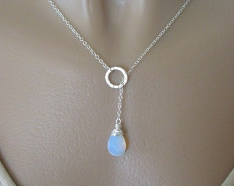 White Opal Necklace, Opalite Necklace, Moonstone Lariat, Moonstone Jewelry, Sterling Silver Necklace, Lariat Necklace, Silver Lariat