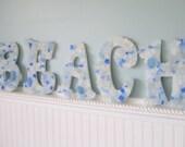 Beach Decor 4PC Sea Glass Letters - Nautical Decor Beach Glass Decorative Wall Letters, 4PC, Any Color