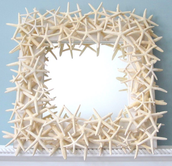 Beach Decor White Starfish Mirror -  Nautical Shell Mirror - White Starfish Seashell Mirror