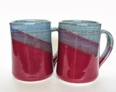 Set of 2 Large Handmade Ceramic Mugs  -- Two toned colored Twilight and Raspberry -- 16 oz Hand crafted blue and red cup
