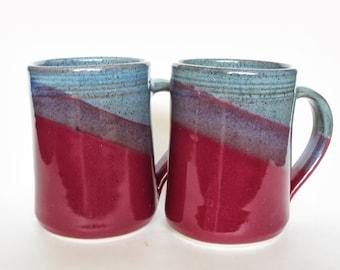 Set of 2 Large Handmade Ceramic Mugs  -- Red Blue hand thrown pottery coffee tea cocoa mug -- Handmade ceramic mug