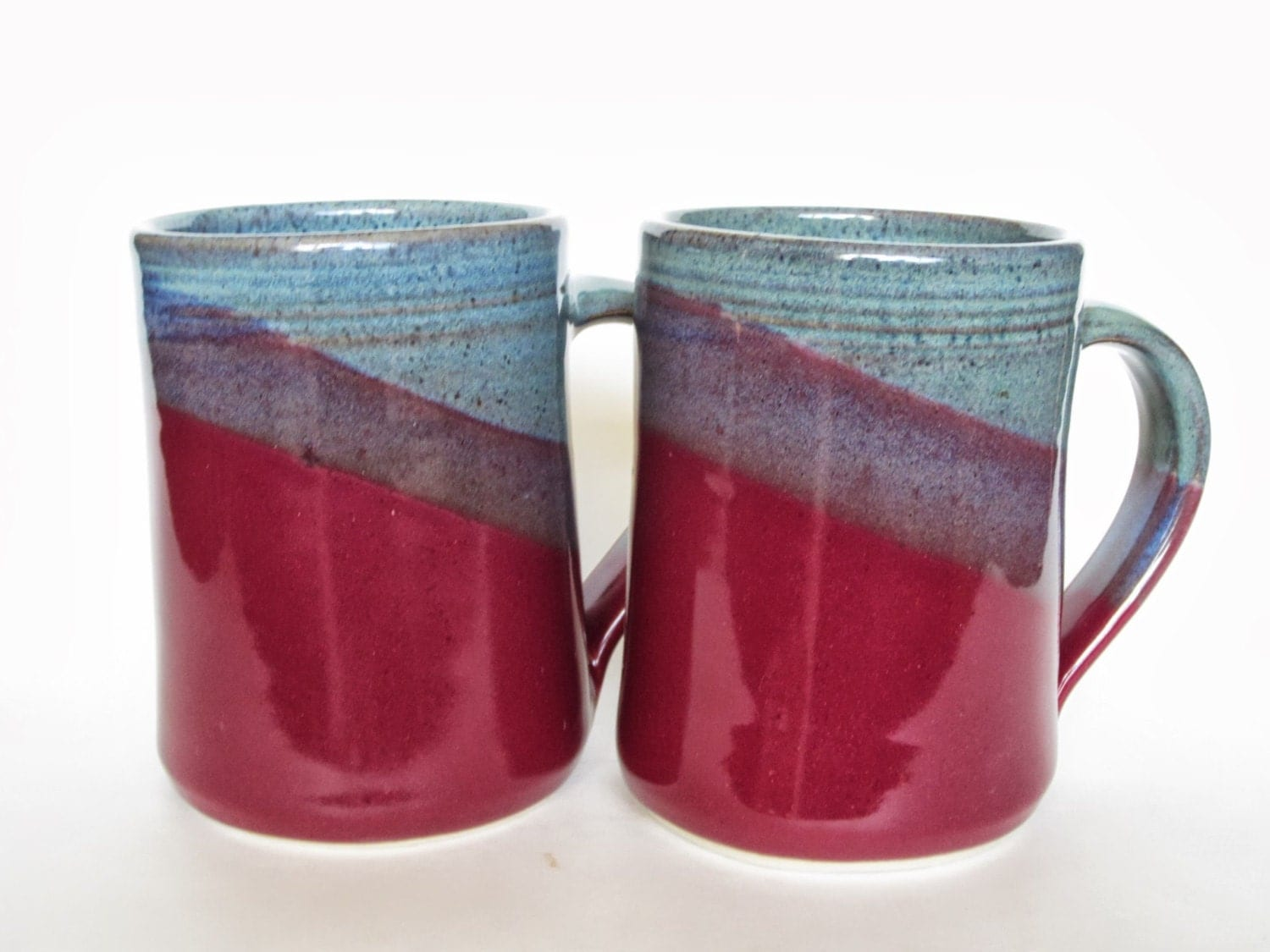 Set Of 2 Large Handmade Ceramic Mugs Two Toned Colored