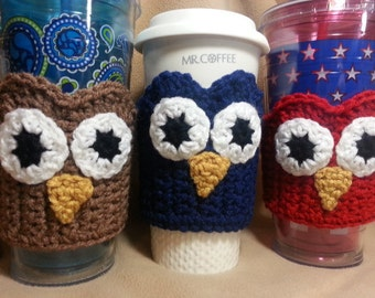Owl Coffee Cup Sleeve Cozy - Crochet Insulated Cup Sleeve