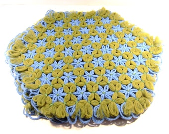 3 Large doilies made from yarn with flowers