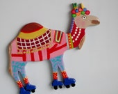 RESERVED FOR CHRISTINE - Large Fridge Magnet - Camel on Roller Skates