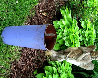 Vintage Flower Bucket Metal Bucket Florist Container Flower Holder Primitive Periwinkle Blue Tall Wedding Flower Arrangement