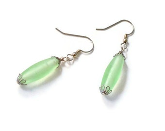 Green Frosted Glass Bead Earrings, Short Dangle, French Ear Wires