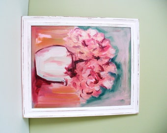 Impressionist Floral Original painting Pink Peony large white frame Shabby Chic Distressed cottage chic Art