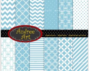 Digital paper for all use, blue chevron paper and polkadot , quatrefoil background -No 27 Set of  digital sheets 12 sheet, instant download