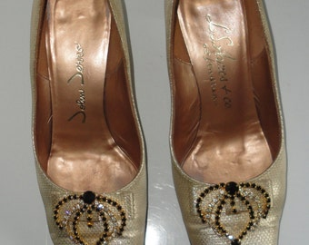 1960's John Jerro. L.S Ayres & Co. of Indiana. Gold Shoes with Rhinestones. Size 5.5B