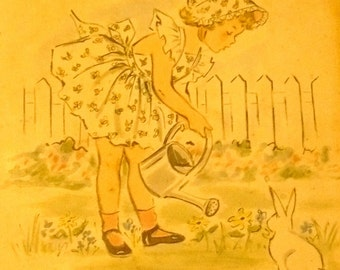 Original 1950's CHILDRENS PICTURE Little Girl In Garden With Rabbit