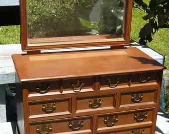 Vtg Mid Century Miniature Salesman Sample Size Chippendale Dresser JEWELRY BOX Original Brasses